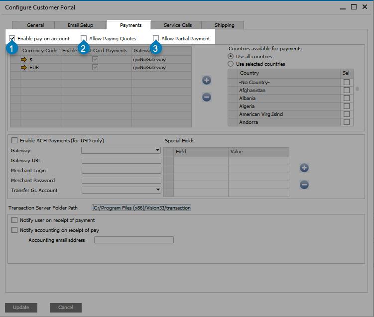 Customer Portal Web Configuration Options | Product